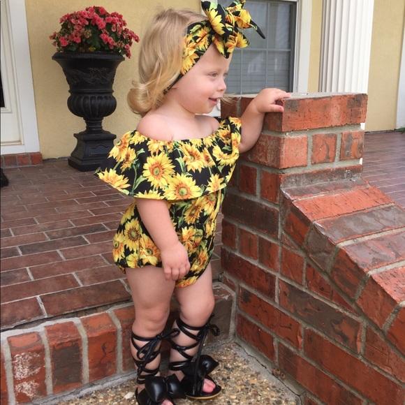 93d7f669f One Pieces | Boutique Baby Girl Sunflower Romper Headband 2pc | Poshmark